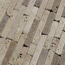Bathroom mosaic tile / outdoor / wall / travertine