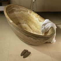 Free-standing bathtub / oval / travertine / thermal