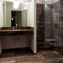 Bathroom tile / wall / travertine / smooth