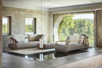 Contemporary sofa / leather / solid wood / bentwood