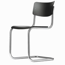 Contemporary visitor chair / upholstered / stackable / with armrests