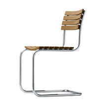 Contemporary garden chair / with armrests / cantilever / solid wood