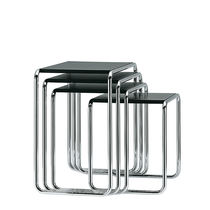 Bauhaus design nesting tables / wooden / glass / metal