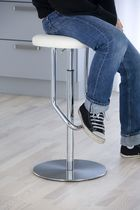 Contemporary bar stool / leather / stainless steel / fabric