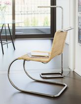 Bauhaus design chair / wicker / steel / leather