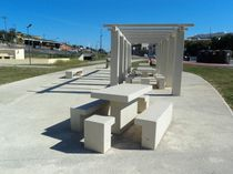 Picnic table / contemporary / concrete / rectangular