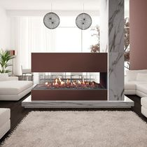Closed gas hearth / 3-sided / metal