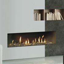 Gas fireplace insert / 1-sided / remote-controlled