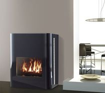 Gas heating stove / contemporary / double-sided / central
