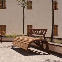 Public bench / contemporary / wooden / COR-TEN® steel