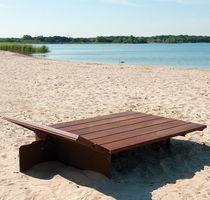 Contemporary sun lounger / wooden / for public spaces