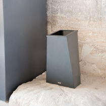 Public trash can / steel / contemporary