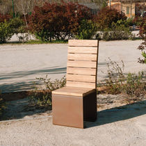 Contemporary chair / wooden / COR-TEN® steel / for public spaces