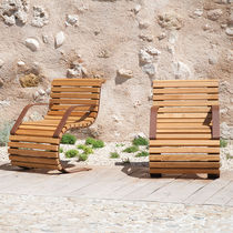 Contemporary armchair / wooden / steel / for public spaces
