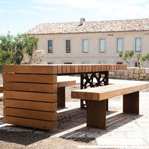 Contemporary picnic table / wooden / steel / rectangular