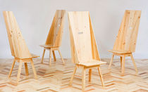 Contemporary chair / wood / recovered materials