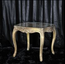 Louis XV style side table / glass / square