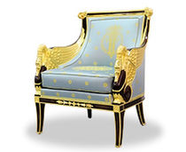 Classic armchair / wooden / leather / bergere