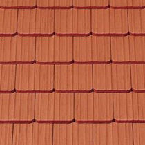 Flat roof tile / clay / red