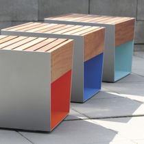 Contemporary stool / wooden / galvanized steel / for public spaces