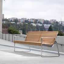 Public bench / contemporary / solid wood / with backrest