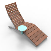 Contemporary sun lounger / solid wood / for public spaces