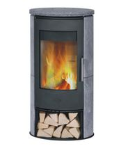 Wood heating stove / contemporary / steel / soapstone