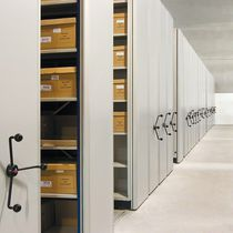 Mechanical mobile shelving / archival / for offices / metal