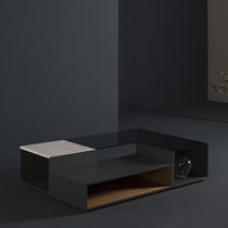Contemporary coffee table / lacquered MDF / smoked glass / marble