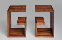 Contemporary side table / solid wood / rectangular / custom