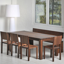 Contemporary dining table / solid wood / rectangular / extending