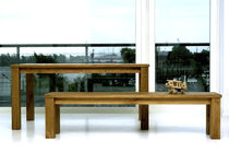 Contemporary dining table / solid wood / rectangular / custom