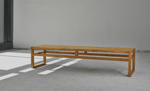 Contemporary bench / wooden / with backrest