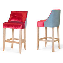 Traditional bar stool / wooden / fabric / commercial