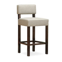 Traditional bar chair / upholstered / fabric / wooden