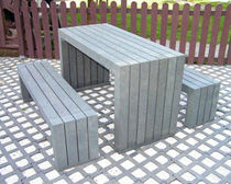 Contemporary bench and table set / recycled plastic / outdoor / for public spaces