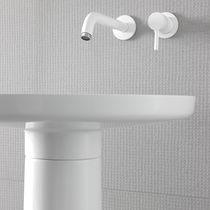 Washbasin mixer tap / wall-mounted / metal / bathroom