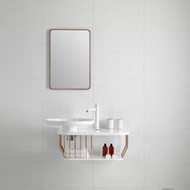 Wall-hung washbasin cabinet / metal / contemporary / with mirror