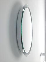 Wall-mounted mirror / contemporary / round / illuminated
