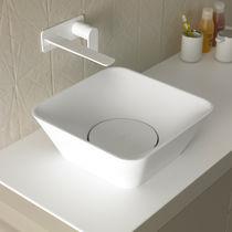 Countertop washbasin / square / marble / contemporary