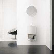 Wall-hung washbasin cabinet / Solid Surface / design / with mirror