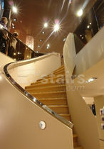 Circular staircase / wooden steps / metal frame / with risers