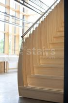 Straight staircase / wooden steps / wooden frame / without risers