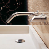 Washbasin double-handle mixer tap / built-in / stainless steel / bathroom