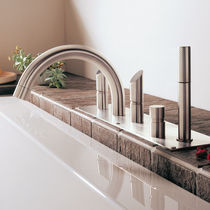 Bathtub double-handle mixer tap / deck-mounted / stainless steel / bathroom