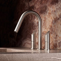 Washbasin double-handle mixer tap / free-standing / stainless steel / bathroom