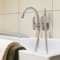 Bathtub double-handle mixer tap / wall-mounted / stainless steel / bathroom