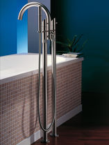 Bathtub double-handle mixer tap / free-standing / stainless steel / bathroom