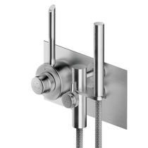 Shower mixer tap / built-in / stainless steel / thermostatic