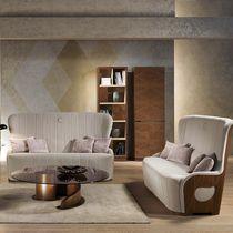 Contemporary sofa / velvet / leather / wooden